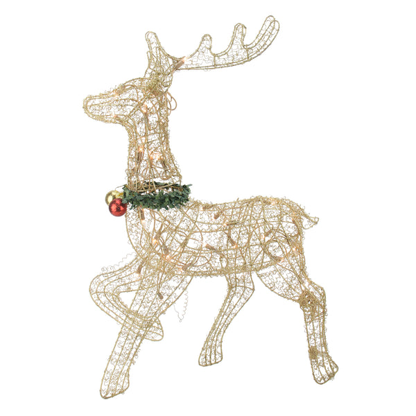 "25"" Lighted Gold Prancing Reindeer Outdoor Christmas Decor"