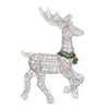 "25"" Silver and Green Lighted Prancing Reindeer Christmas Outdoor Decor"