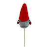 "11.5"" Tiny Gray Faux Fur Santa Gnome with Red Hat Christmas Pick"