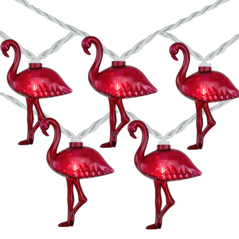 10 Pink Flamingo Summer Patio String Lights - 7.25ft White Wire