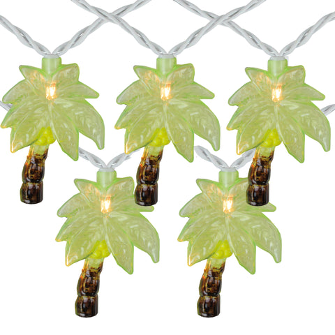 10 Green Tropical Palm Tree Patio String Lights - 7.25ft White Wire
