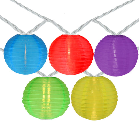 10 Multi-Color Round Chinese Lantern String Lights - 7.25ft. White Wire