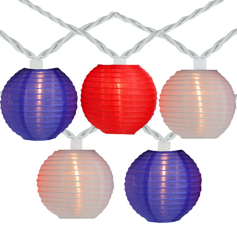 10-Count Red and Blue Round Chinese Lantern String Lights, 7.5ft White Wire