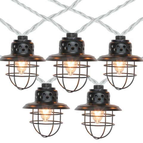 10 Black Metal Caged Fisherman Lantern String Lights - 9ft. Black Wire