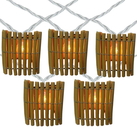 10-Count Brown Tropical Bamboo Outdoor Patio String Light Set, 7.25' White Wire