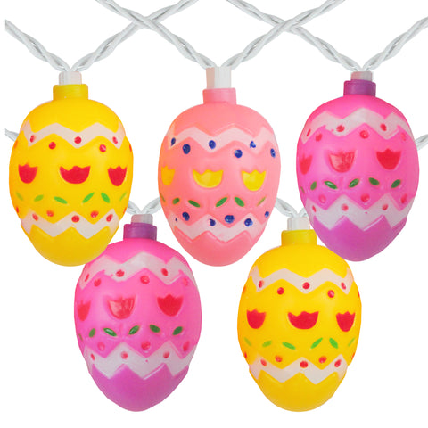 10-Count Pastel Multi-Color Easter Egg String Light Set, 7.25ft White Wire