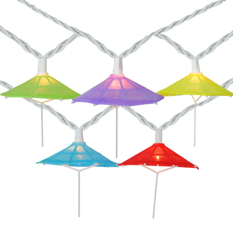 10 Multi-Color Umbrella Shaped Novelty String Lights - 7.25ft White Wire