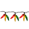 36 Red, Yellow and Green Chili Pepper Cluster String Lights - 7.5ft Brown Wire