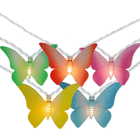10 Summer Butterfly Outdoor Patio String Lights - 7.25ft. White Wire