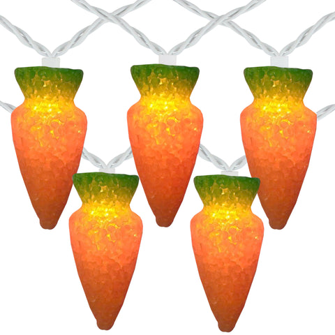 10 Orange Carrot Easter String Lights - 7.25ft White Wire