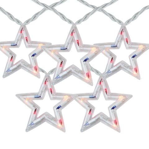 5 Red, White and Blue Patriotic 4th of July Star Shaped Lights - 6ft. White Wire