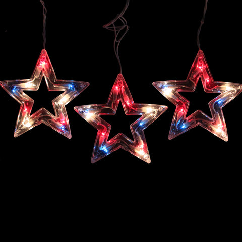 5-Count Red and Blue Patriotic Fourth of July Star Light Set, 6ft White Wire