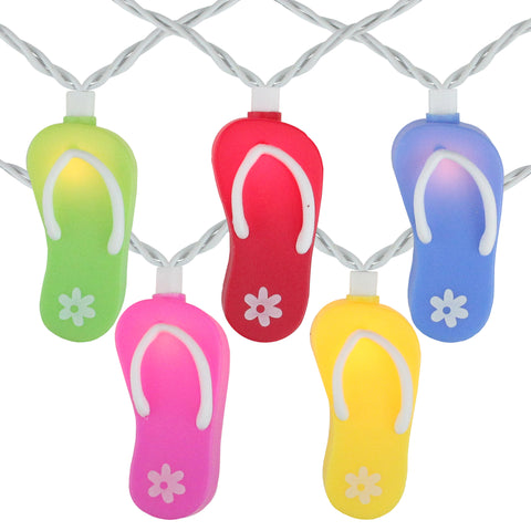10 Summertime Flip Flop Novelty String Lights - 7.5ft White Wire