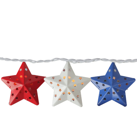 10-Count Red and Blue Fourth of July Star String Light Set, 7.25ft White Wire