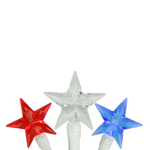 30 Patriotic Red, White and Blue LED Star String Lights - 7ft White Wire