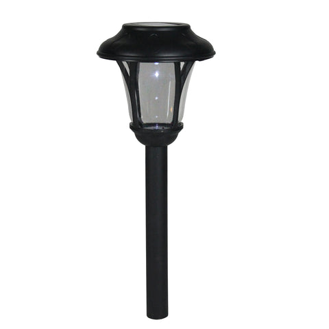 "12"" Black Lantern Solar Light with White LED Light and Lawn Stake"