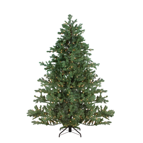 7.5' Green Pre-lit Mountain Pine Artificial Christmas Tree - Clear Lights