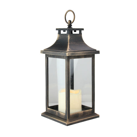 "12.5"" Black with Gold Brushing Candle Lantern with Flameless LED Candle"