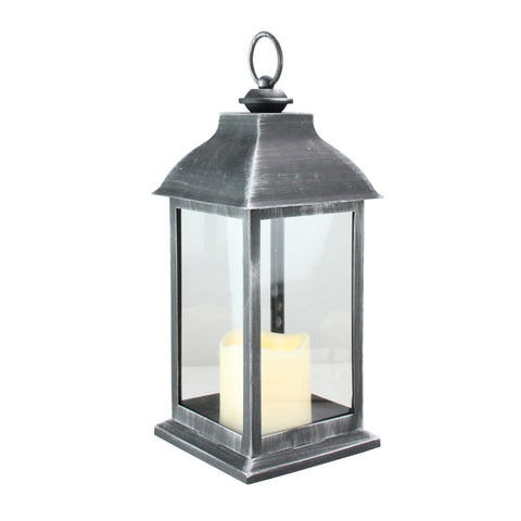 "12.5"" Silver Brushed Black Candle Lantern with Flameless LED Candle"