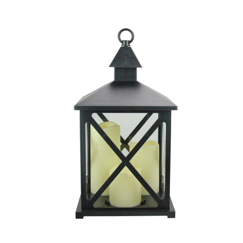 "12.5"" Black Candle Lantern with 3 Flameless LED Candle"