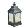 "20"" Large Black Candle Lantern with 3 Flameless LED Candles"