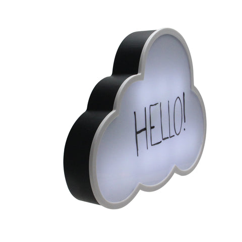 "12"" Battery Operated LED Lighted Cloud Shaped White Board"