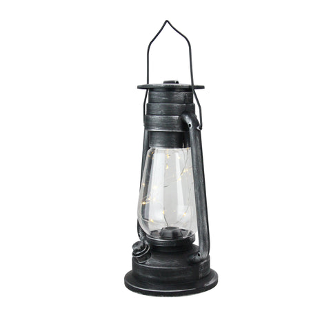 "12"" Silver Brushed Black Traditional Lantern with Micro Lights"