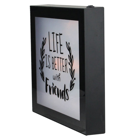 "9"" B/O LED Lighted ""Life is Better With Friends"" Framed Wall Decor"