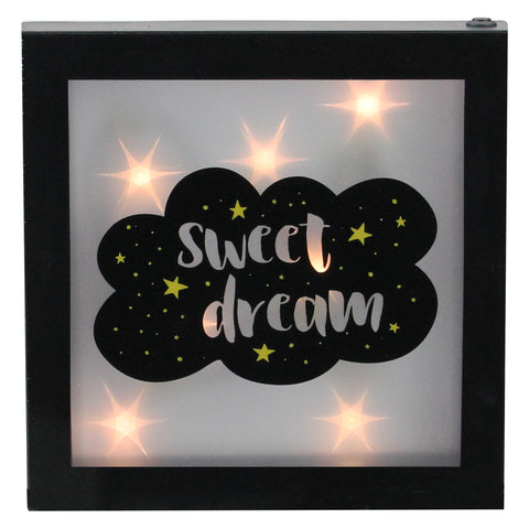 "9"" Battery Operated LED Lighted ""Sweet Dream"" Cloud Framed Night Light Box"