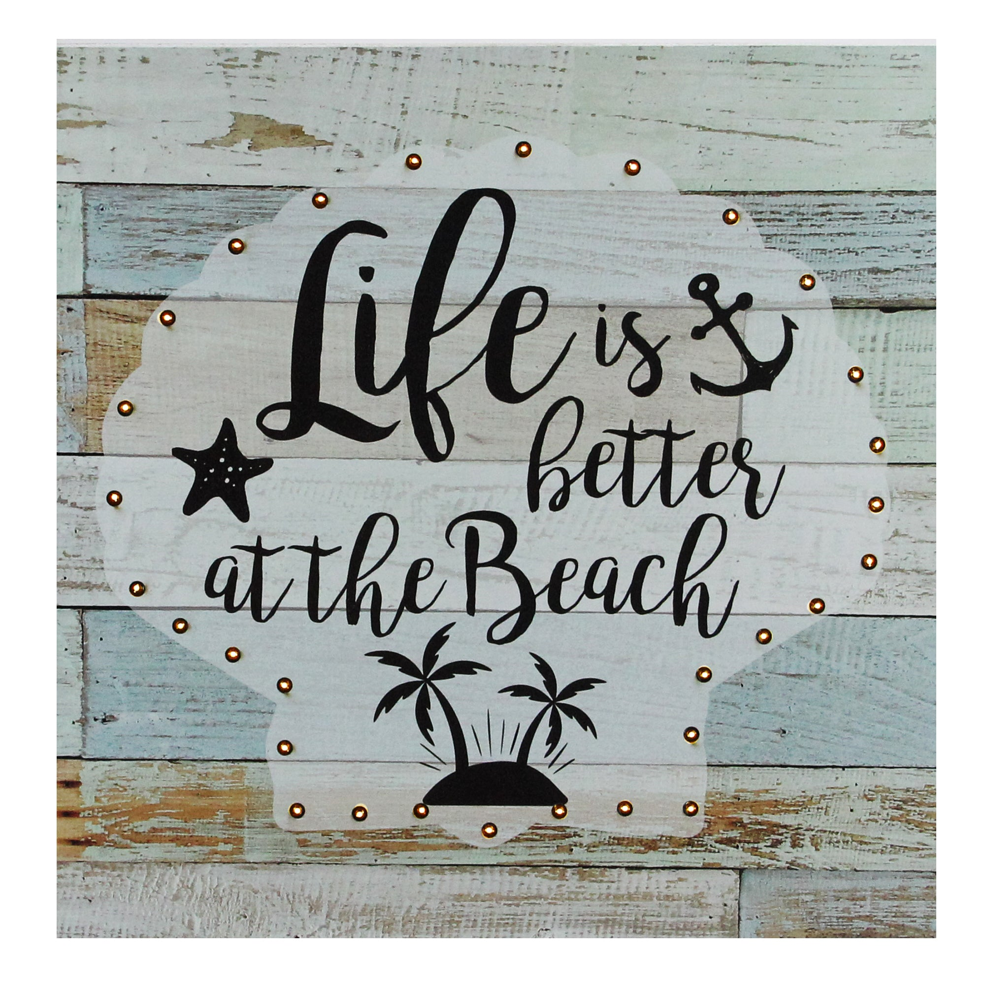 Battery Operated Led Lighted Beach Wall Art Plaque 12 X 12 Northlight Seasonal