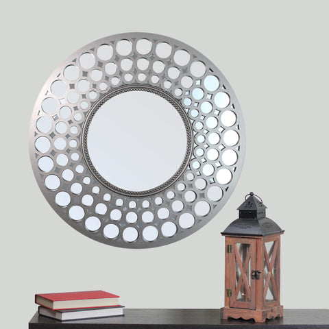 "24.75"" Cascading Orbs Silver Framed Round Wall Mirror"