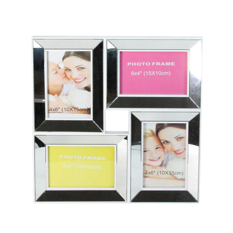 "13.75"" White Glass Encased Collage Picture Frame"