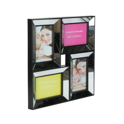 "13.75"" Black Mirrored Collage Photo Picture Frame Wall Decoration"