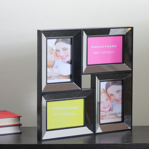 "14.5"" Black Mirrored Collage Picture Frame Wall Decoration"