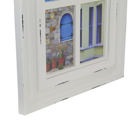 "35"" Off-White Weathered Windowpane Photo Collage Frame Wall Decor"