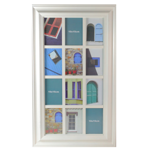 "29"" White Weathered Windowpane Collage Picture Frame"