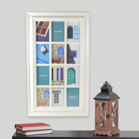 "29"" Off-White Weathered Windowpane Photo Collage Frame Wall Decor"