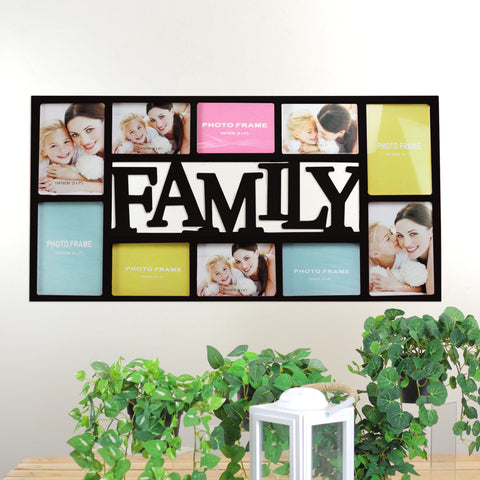 "29"" Black Dual-Sized Family Photo Collage Picture Frame"