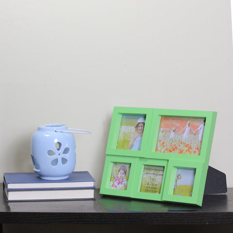 "11.5"" Green Multi-Sized Puzzled Collage Picture Frame"