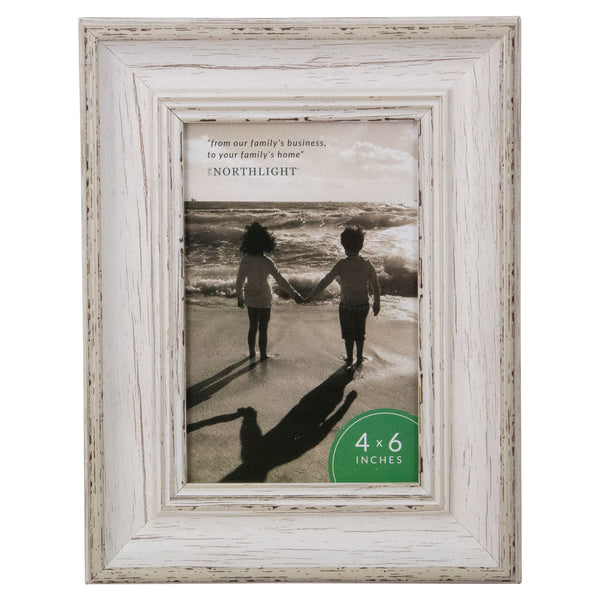 "4"" x 6""  White Distressed Vintage Picture Frame Tabletop Decor"