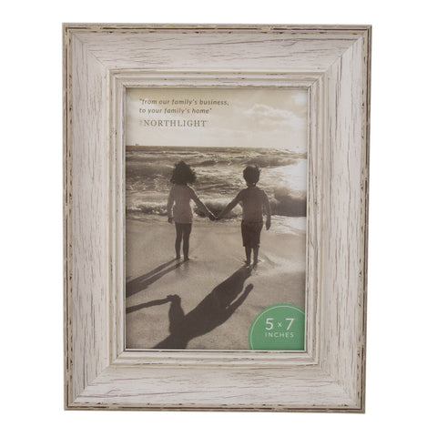 "Distressed White Vintage Picture Frame- 5"" x 7"""