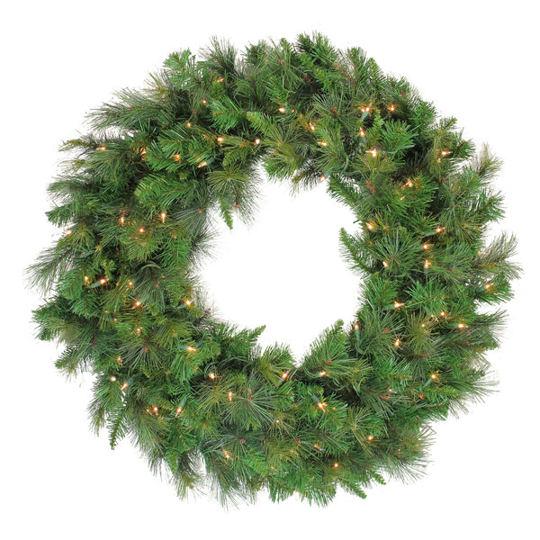 Mixed Canyon Pine Artificial Christmas Wreath - 36-Inch, Clear Lights