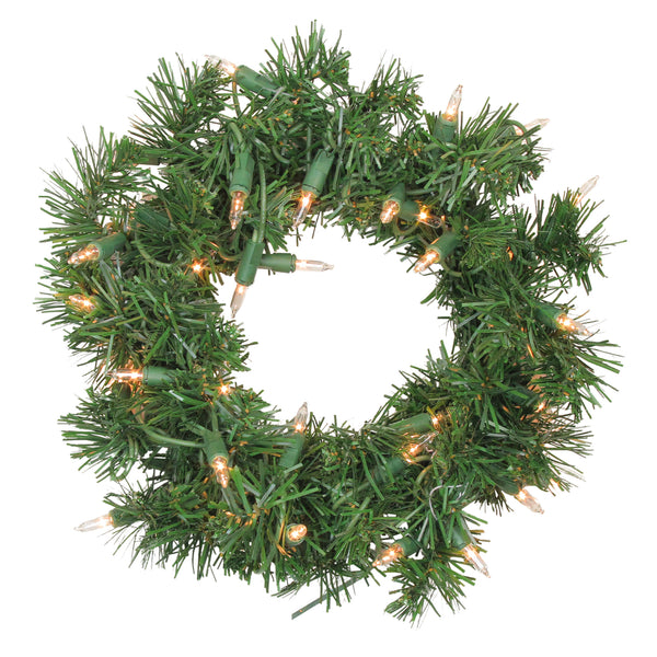 Pre-Lit Deluxe Windsor Pine Artificial Christmas Wreath - 10-Inch, Clear Lights