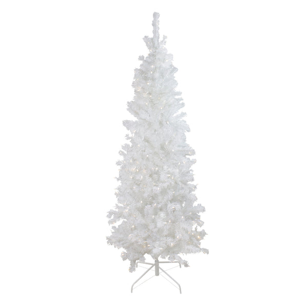 6.5' Pre-Lit Pencil White Winston Pine Artificial Christmas Tree - Warm White LED Lights