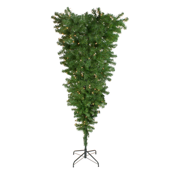 5.5' Pre-Lit Medium Spruce Upside Down Artificial Christmas Tree - Clear Lights