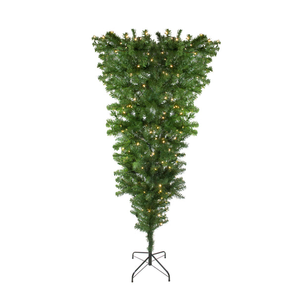 6.5' Pre-Lit Upside Down Spruce Artificial Christmas Tree - Warm White LED Lights