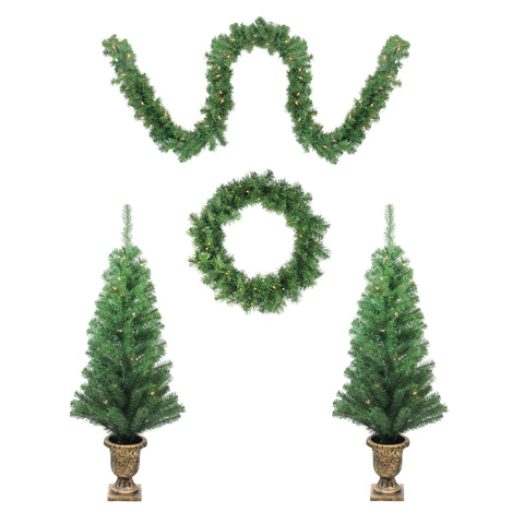 5-Piece Artificial Winter Spruce Christmas Trees, Wreath and Garland Set - Clear Lights