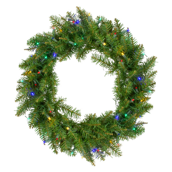 "24"" Pre-Lit Northern Pine Artificial Multi-Color LED Lights Christmas Wreath"