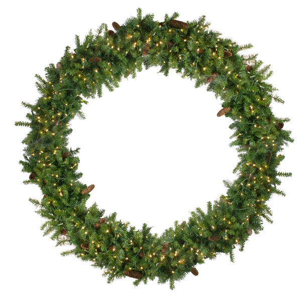 Pre-Lit Dakota Pine Artificial Christmas Wreath - 72-Inch, Warm White LED Lights