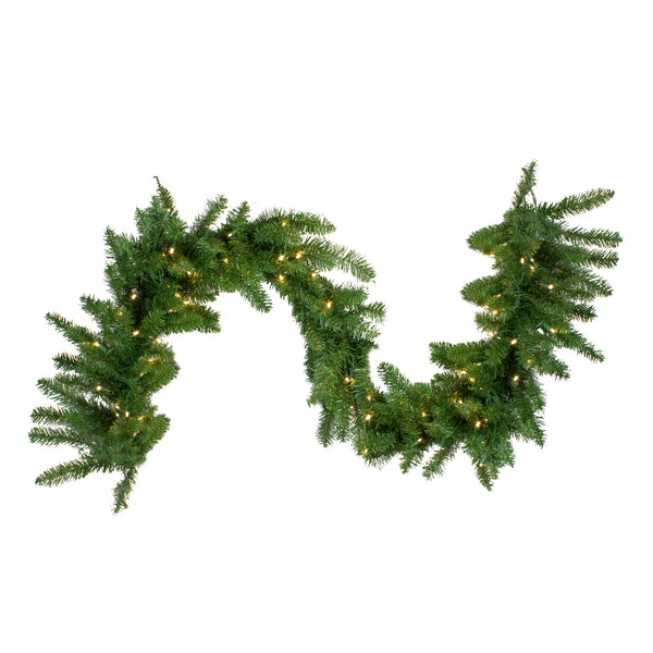25' x 18 Pre-Lit Buffalo Fir Commercial Artificial Christmas Garland -  Warm White LED Lights